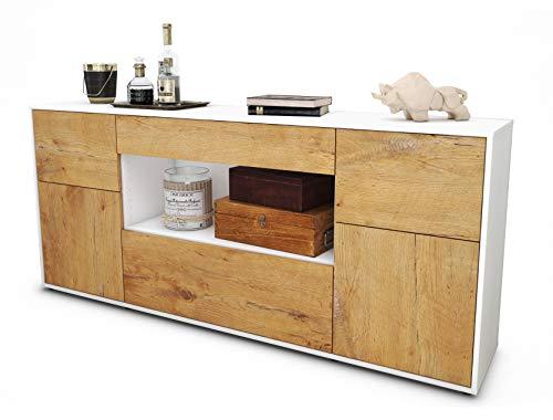 Stil.Zeit Sideboard Fabiola/Korpus Weiss matt/Front Holz-Design Eiche (180x79x35cm) Push-to-Open Technik & Leichtlaufschienen