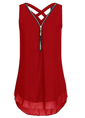 Flying Rabbit Damen Shirt Chiffon Bluse Langarmshirt mit Reißverschluss Vorne V-Ausschnitt Tops T-Shirt (XL, Short- Weinrot)