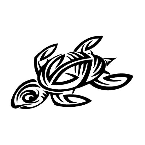 Leon Online Box Sea Turtle Kunst-Animal Aufkleber Vinyl Aufkleber für Auto, Bike, iPad, Laptop, MacBook, Helm 12cm Schwarz Turtle Helm