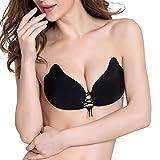 FanMop Klebe-BHS Push Up Sexy BH Damen Silikon Self Adhesive zum Schnüren Trägerlos mit Tunnelzug für Abendkleider Ballkleider Brautkleider (Schwarz, A)