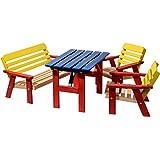 Dobar 94370FSC - Conjunto de asiento para niños con niños tabla niños banco y silla para niños de dos veces, multicolor