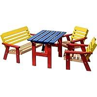 dobar 94370fsc kindersi jardin avec banc pour quatre enfants en bois fsc marronmulticolore multicolore - Table Jardin Bois Enfant