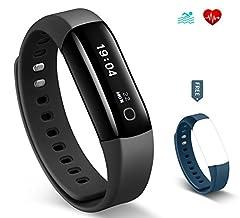 Idea Regalo - Fitness Tracker HolyHigh Vigorun 4 HR con Cardiofrequenzimetro da Polso, Bracciale Intelligente Nuoto impermeabile IP68/ Contapassi /Contacalorie e avviso Sedentarietà per Android e iOS