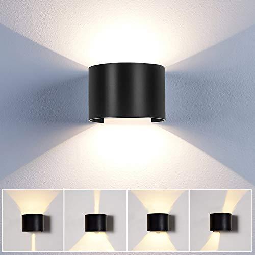 12W Applique Led Da Parete Interni/ Esterno lampade da parete Moderno Impermeabile IP65 Lampada Muro in Alluminio Angolo Su e Giù Regolabile design 3000K Bianco Caldo (Nero)