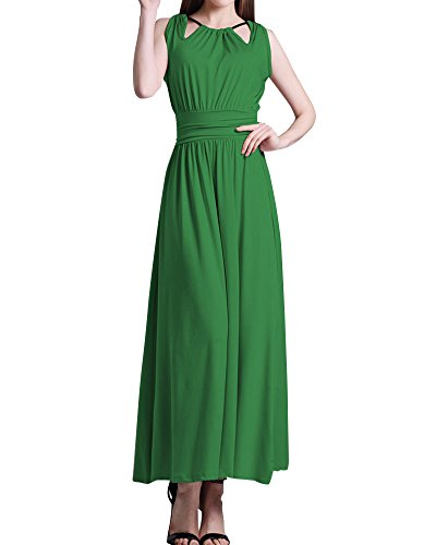 Femme Robe Maxi Longue Sans Manche Plage Bohême Swing Robes Vert
