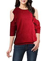 ISASSY Women's Classic Loose Ruffle Off Shoulder Top T-Shirt Blouse