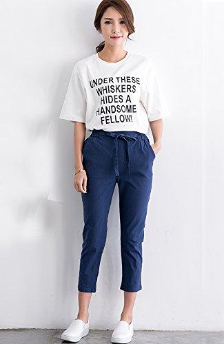ONECHANCE Damen Leinen Baumwollmischung Elastische Taillenfüße Drawstring Capri Hosen Navy Blau
