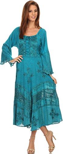 Sakkas Mirabel Robe Manches Kimono Style Corsage Floral Délavée Brodée Turquoise