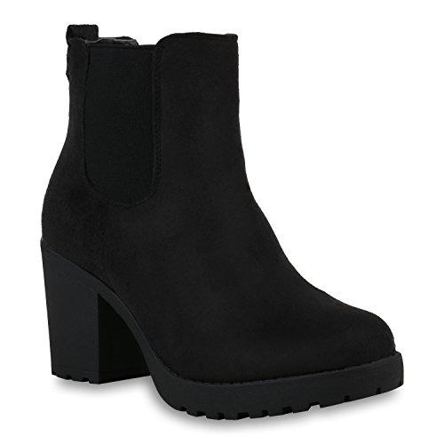 Damen Stiefeletten Warm Gefütterte Chelsea Boots Plateau Schuhe 153650 Schwarz Amares 38 Flandell (Schwarze Stiefeletten Damen)