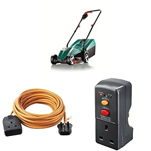 Bosch Rotak 32R Electric Rotary Lawnmower with Heavy-Duty Outdoor Power Socket and Safety RCD Adaptor