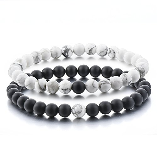 Distance Bracelets de Believe London avec sac de bijoux et carte de signification | Fort élastique | Amitié Relation Couples Son Ses | Howlite Blanc Agate Onyx Noir