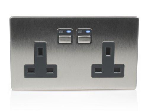 LightwaveRF Wireless Control Double Power Socket 2 Gang/13 Amp, Stainless Steel