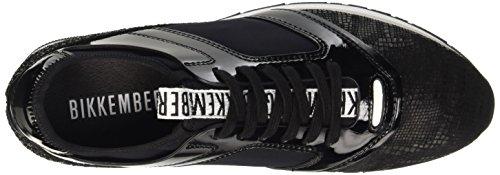 Bikkembergs Winn-er 635 Low Shoe W Leather/Metal/Glitter, Pompes à plateforme plate femme Noir - noir