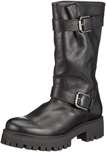 Buffalo Damen Meadow IBEROCRUST Leather Biker Boots Schwarz (Black969 00) 37 EU