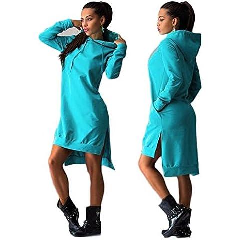 abito felpa, FEITONG donne doppia fenditura maglione tasche felpa con cappuccio pullover (Blu, M)