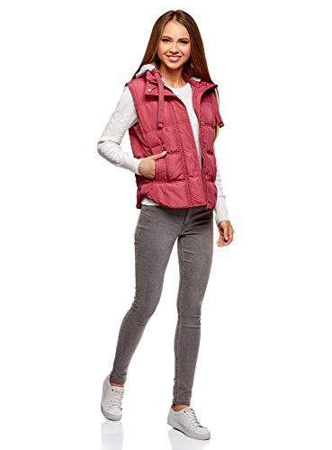 oodji Ultra Damen Steppweste mit Kontrastkapuze aus Jersey Rosa (4902N)