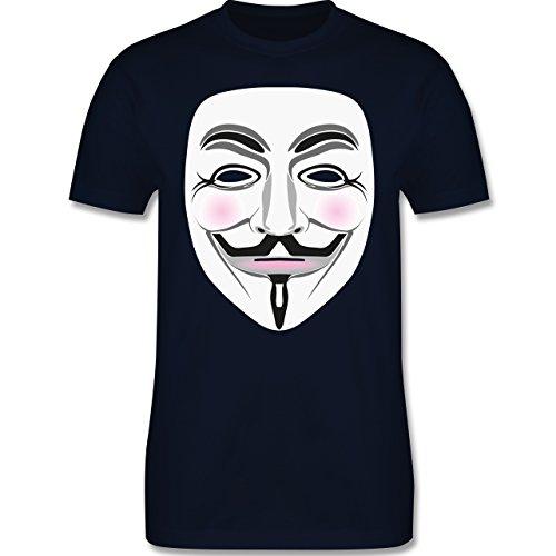 Nerds & Geeks - Anonymous Maske Hacker - Herren Premium T-Shirt Navy Blau