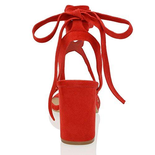 ESSEX GLAM Damen Niedriger Blockabsatz Schnürer Knöchelriemen Party Riemchen Schuhe Rot Wildlederimitat