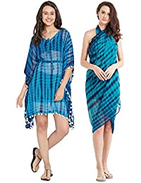 SOURBH Beachwear Kaftan and Sarong for Women Combo Value Pack Body Wrap Swim Coverup (Set of 2, Free Size)