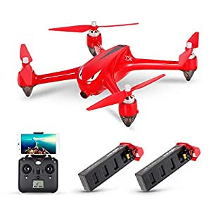 MJX B2W Bugs 2W 2.4G 6-Axis Gyro Brushless Motor Independent ESC 1080P Telecamera Wifi FPV Drone GPS RC Quadcopter w / Due batterie (rosso)