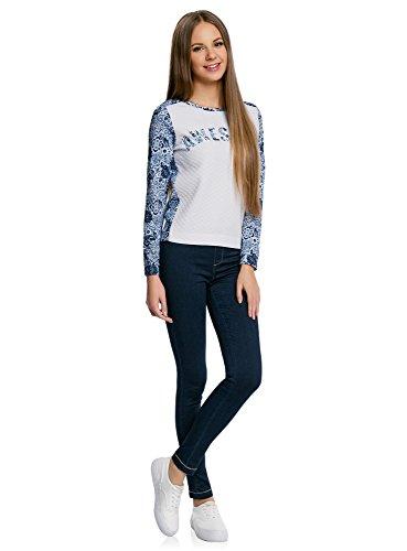oodji Ultra Femme Sweat Shirt avec Inscription et Manches Imprimées Blanc (1070P)