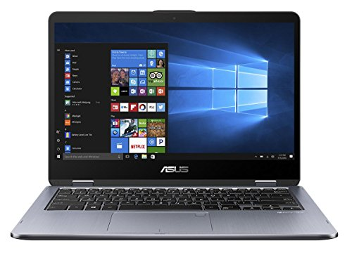 Asus VivoBook Flip 14 TP410UA-EC229T 35,5 cm (14 Zoll FHD Touch) Convertible Notebook (Intel Core i3-7100U, 4GB RAM, 128GB SSD, Intel HD Graphics, Win 10 Home) grau