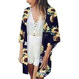 Amphia Damen Kaftan Strandkleid,Frauen-Strand-Oberseiten-Druck-Sonnenblume-Badebekleidungs-Wolljacken-Badeanzug-Bikini vertuschen Oben