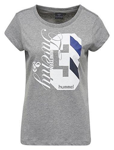 Hummel–Maglietta da donna con stampa–quintess SS Tee–Maglietta Girocollo Manica Corta–Print maglietta cotone–printshirt Sport & Tempo libero–sportiva, disponibile in diversi colori melange medio
