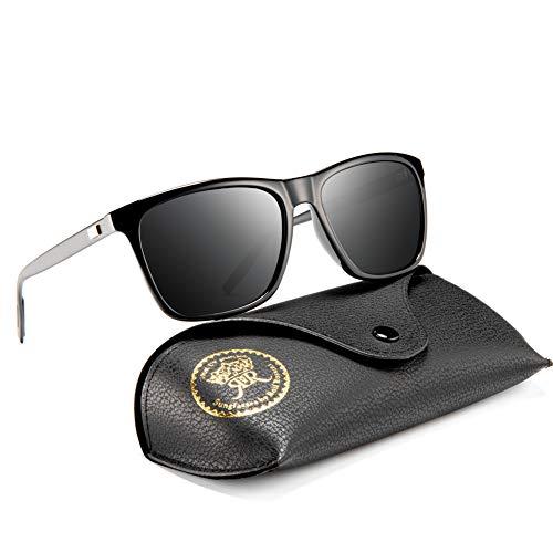Rocf Rossini Polarisiert Herren Sonnenbrille für Damen klassisch Retro Sonnenbrillen Aluminium-Magnesium-Legierung Männer und Frauen Vintage Anti Reflexion UV400 Schutz - Unisex (Schwarz-Gun/Grau)