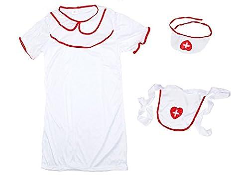 Déguisement infirmière 3 accessoires: Robe + tablier + coiffe (63/2652) femme fille blanc rouge Sexy nurse lady