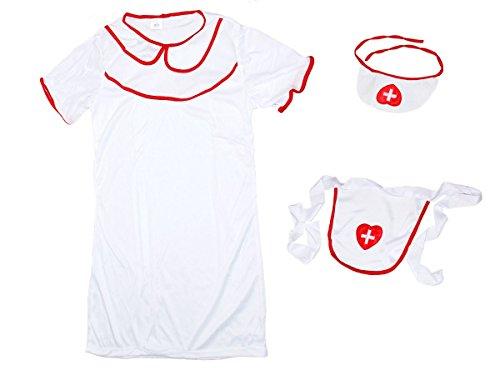 Déguisement infirmière 3 accessoires: Robe + tablier + coiffe (63/2652) femme fille blanc rouge Sexy nurse lady costume
