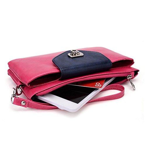 Kroo Pochette Portefeuille en Cuir de Femme avec Bracelet Coque pour Nokia Lumia 1320 Noir/gris Magenta and Blue