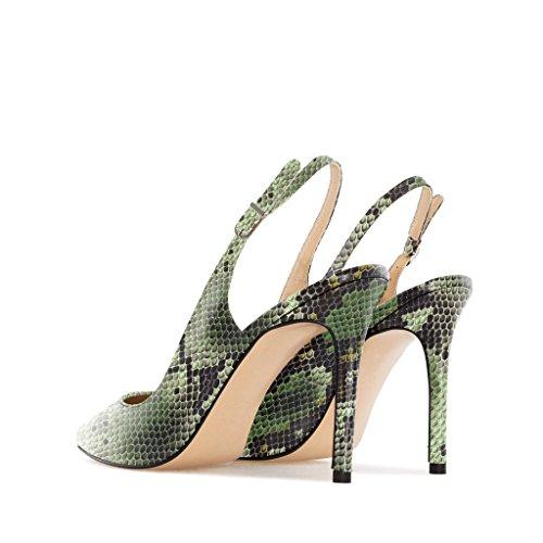 EDEFS Damen Slingback Pumps,High Heel Übergröße Damenschuhe,Schuhe mit Hohen Absätzen Python-Grun
