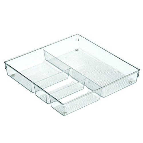 InterDesign Linus Organiser Tray, Extra Large Plastic Drawer Insert, Works Well as Accessories Organiser, Clear