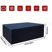 Buzazz Fundas de Muebles Oxford Tela Impermeable Resistente al Polvo Anti-UV Protección Exterior Muebles de Jardín Cubiertas de Mesa y Silla Negro (270 x 180 x 89 cm)