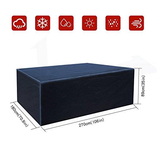 Buzazz Abdeckung für Gartenmöbel Oxford-Gewebe Wasserdicht Staubdicht Anti-UV Schutz Rechteckig Gartenmöbel Schutzhülle für eckige Tische, Sofa, Liege, Stühle - Schwarz(270 x180 x89CM)