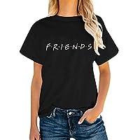 AEURPLT Womens Friends TV Show T Shirts Summer Graphic Tees Short Sleeve Tops,Black,Medium
