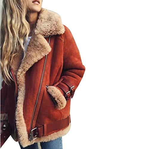 Serface Damen Winterjacke Kurz Künstliche Wildleder Lamm Haar Dicke Warme Winter Jacke Parka Mantel Kurzjacke Outwear Große Größen(S-5XL)