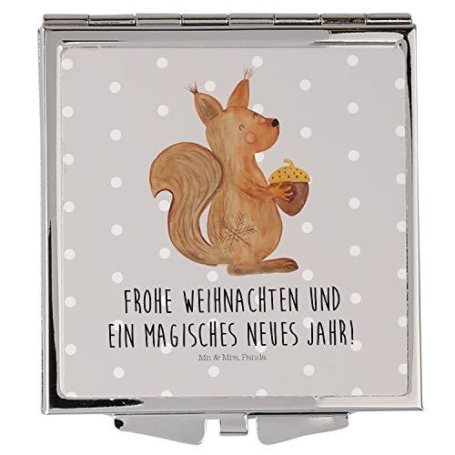 Mr. & Mrs. Panda Schminkspiegel, schminken, Handtaschenspiegel quadratisch Eichhörnchen Weihnachten mit Spruch - Farbe