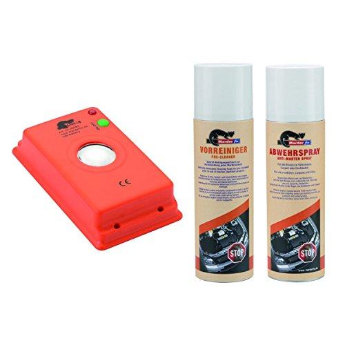 MarderFix - Akustik Batterie Inklusive Vorreiniger und Abwehrspray - Marderabwehr im Auto, Haus und Hof