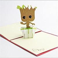 BC Worldwide Ltd Creato a mano 3D origami di carta artigianale Guardiani della Galassia biglietto d'auguri albero Groot uomo, carta di San Valentino, biglietti d'auguri, carta festa del papà, carta festa della mamma, regalo per lui e lei