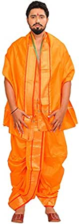 Exotic India Ready to Wear Dhoti and Veshti Set with Woven Golden Border - Color Blazing OrangeGarment Size Free Size