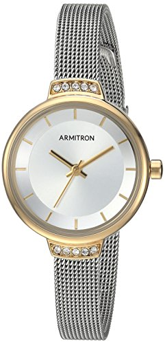 Armitron Women's 75/5476SVTT Swarovski Crystal Accented Two-Tone Mesh Bracelet Watch