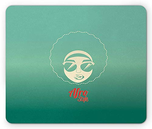 Afro Mouse Pad, Woman of Color with Cool Sunglasses Funky Disco Lifestyle Vintage Dance Style, Standard Size Rectangle Non-Slip Rubber Mousepad, Red Sea Green Cream