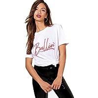 Weiß Damen Cara Ballin, übergroßes T-Shirt mit Slogan 33271c1727