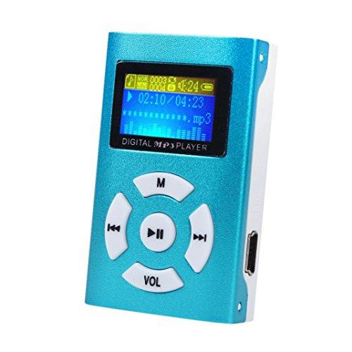 Amlaiworld LCD Bildschirm Classic Mini MP3-Player Urlaub Sport USB Musik Player Casual Freizeit Clip Elektronisch geräte Tragbare Audio Zubehör für 32 G SD/TF Kartenslot (Blau)