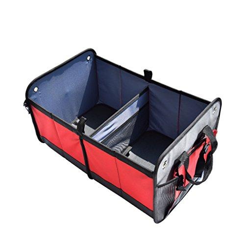 JIBO Kofferraum Autozubehör Aufbewahrungsbox Versenkbare Falten Gepäck Tasche Kofferraum Aufbewahrungsbox 58*37*30Cm,Red (Leder-foto-speicher-box)