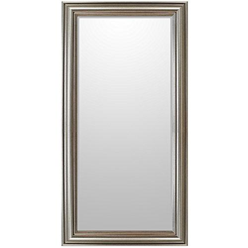 WOHAGA® Zeitloser Spiegel Wandspiegel Barspiegel Flurspiegel Garderobenspiegel Frisierspiegel mit Facettenschliff Silbergold - 102x52cm