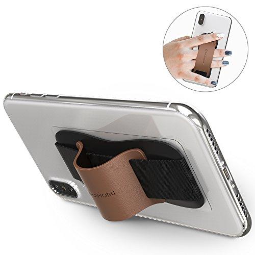Sinjimoru Fingerhalter Handy. Bequeme Smartphone Fingerhalterung, die auch als Stabiler Handy Ständer verwendet Werden kann. Handy Halter für Alle Handys. Sinji Grip, Braun.