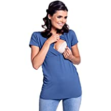 Zeta Ville - Premamá Top Camiseta de lactancia efecto 2 en 1 - para mujer - 790c